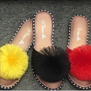 Verano Yellow Pom Silver Stud SlipOn Mule Sandals